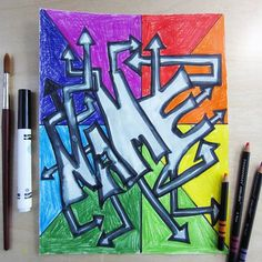 NEW to my TpT store. Create Graffiti Artworks with your students for Back To School Felt Marker and Pencil Crayon! Will look so cheerful and fun for Meet the Teacher night. See my store to purchase this art tutorial. Fall Art Projects, Animal Art Projects, School Art Projects, Projects For Kids, Back To School Art, High School Art, Back To School Activities, School Resources, Teaching Resources