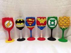 Justice League of America inspired hand painted by AWhimsicalHoot