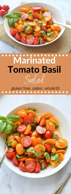 This Marinated Tomato Salad is full of fresh flavor and can be used in so many ways as a side dish or a topping for chicken, beef or fish. Trust me, you'll be eating this all summer long. (gluten free, vegan, dairy free, paleo, whole 30} via @lkkelly98
