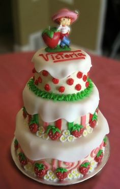 Love the cake...minus the figure.  Diva loves strawberries... this could be the birthday theme for 3??