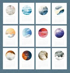 Calendar Design - LOVE the beautiful abstract watercolors! (I see nature in these)