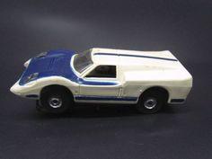 "Aurora T-Jet Slot Car, Ford J Car ""Flamethrower"", SNOW White/Blue, Part #1430"