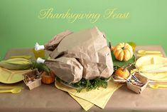 KIDS TABLE:  Popcorn filled Paper Bag Turkey