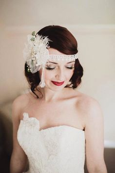 1920s inspired wedding hair flowers, look created by Lipstick and Curls