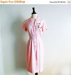 1/2 Off SALE Vintage 50s Pink Dress Lorch of Dallas 1950