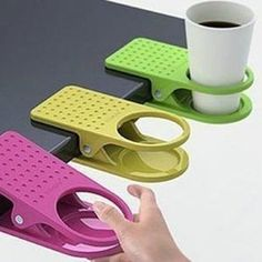 1pc Home Office supplies Drink Cup Coffee Mug Desk Lap Folder Table Holder Clip