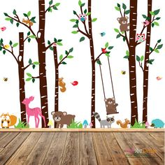 Birch Tree Deer Wall Decal With Forest Animals,BirchTree Decal,Birch Tree Wall  Decal,Kids Vinyl Sticker Removable | Birch, Wall Decals And Walls