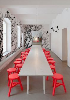 Extra Long Dining Table Design Plus Black White Tree Wall Decals . Esstisch Design, Interior Decorating, Interior Design, Dining Table Design, Interior Walls, Beautiful Interiors, Wall Murals, Home Decor, Birch Forest
