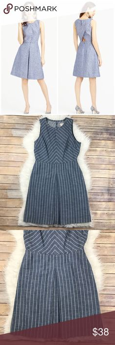 """J. Crew Factory Chevron Striped Cut Out Dress Excellent condition J. Crew Factory Chevron Stripe Dress. Size 6, 100% cotton, Lined in the same. Keyhole Back with Wrap details and a cut out with an A-Line Skirt, has pockets. Falls above the knee. Bust 42"""", Waist 31"""", hips 42"""", length 37"""". No trades, offers welcome. J. Crew Factory Dresses"""