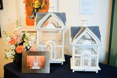 Wedding reception: bird cages for cards.