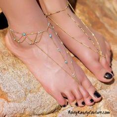 Turquoise Bead Barefoot Sandals Beach Wedding