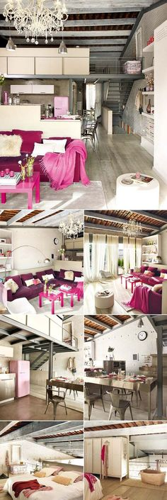One of my favorite houses. grey + fuchsia, black, metallic, pink, cream.  oh my god this is everything