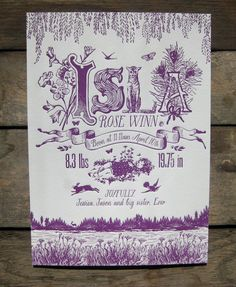 Amazing! Springtime Napping Little Girl Custom Design Letterpress Birth Announcements by colorquarry