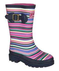 Look at this Navy & Purple Multistripe Junior Welly Rain Boot - Kids on #zulily today!