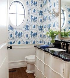 house beautiful blue white bathroom | white and blue bathroom wallpaper sconces in vintage style white ...