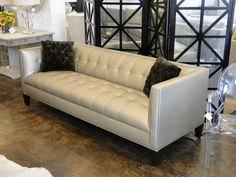 """Mitchell Gold 90"""" Kennedy Sofa in Alloy - Pewter. Boom!"""