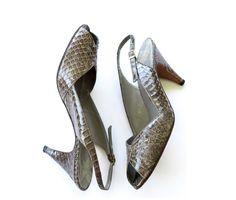 Green / brown  genuine snakeskin peep toe slingbacks SIZE 9 1/2 M by TimeTravelFashions on Etsy