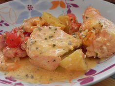 Cocotte de pommes de terre au saumon et aux crevettes