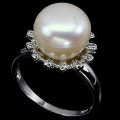 SIZE 7.5 ELEGANT NATURAL CULTURED ROUND 11mm CREAMY WHITE PEARL-WH TOPAZ 12X13mm #Solitaire