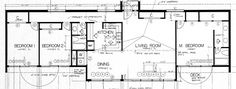 earth sheltered homes floor plans   Earth Sheltered Home Plans - add stairs to bottom level at the end of the hall