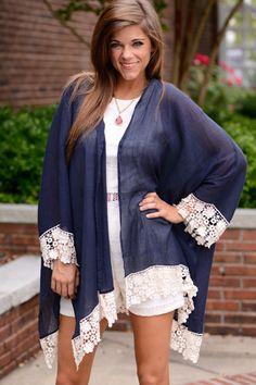 Kimono Over Cardigan, Navy