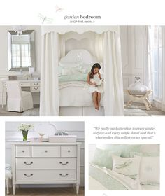 I love this. So dreamy. Monique Lhuillier for Pottery Barn girls bedroom, Garden Bedroom collection.