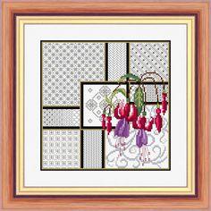Fuchsia and Blackwork a NCH cross stitch kit and chart