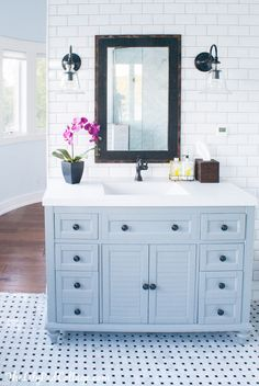 classics in the bathroom include subway tile, painted vanity, and basketweave tile. The View From 5 Ft. 2   5 Happy Things   http://www.viewfrom5ft2.com