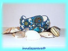"""Embroidery/beaded bracelet cuff """"Dreams of the Sea"""" tutorial"""
