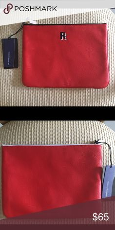 """Rebecca Minkoff Red Leather Pouch Rebecca Minkoff Red Leather Pouch with """"R"""" monogram.  Brand new with tags.  Use this as a clutch, make up bag, iPad mini pouch, or for school.  Perfect for anyone who has the initial """"R"""" as a first or last name. Rebecca Minkoff Bags Clutches & Wristlets"""