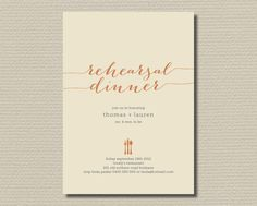 Printable Wedding Rehearsal Dinner Invitation in fall colours  (RD17) on Etsy, $18.00