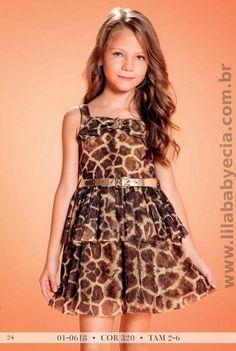 Vestido Infantil leopardo print