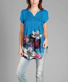 Another great find on #zulily! Blue & Red Floral Button-Front Tunic - Plus #zulilyfinds
