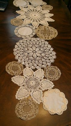Runner made from my grandmas handmade linens (P) wedding Tables lace Crochet Crafts, Crochet Projects, Sewing Crafts, Sewing Projects, Doilies Crafts, Lace Doilies, Doily Art, Bohemian Wedding Decorations, Crochet Dollies