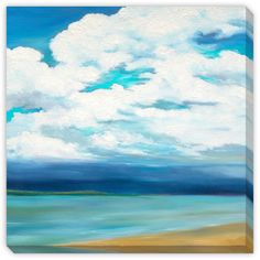 Gallery Direct Marie Meyer's 'Clouds Over the Point' Gallery Wrap Art, Blue