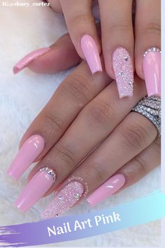 """The color is very important in any visual designs, so is for nail art. Whenever you think about a color that resembles femininity and the feeling of being pretty, cute and girly, the color that strikes your mind is """"Nail Art Pink"""". Dusty Pink Nails, Pastel Pink Nails, Dark Pink Nails, Pink Nail Art, Summer Acrylic Nails, Baby Pink Nails Acrylic, Pink Glitter Nails, Matte Pink, Gold Nails"""