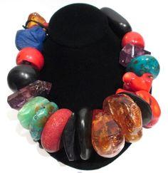 Monies large chunks of raw amber, amethyst, coral, ebony,lapis lazuli, turquoise and leather necklace