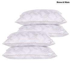 4-Pack: Home & Main Serene Dreams Down-Alternative Pillows with 300 Thread Count Covers at 80% Savings off Retail!