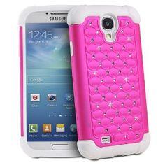 Fosmon HYBO-SD Series PC + TPU Hybrid Bumper Bling Case for Samsung Galaxy S4 S IV / I9500 (Hot Pink / White)