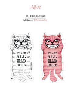 """Hello June: Printable : marque Page """"Chat du Cheshire"""" , avec une version à colorier."""
