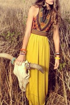 Color Block Print Sleeveless Maxi Dress YELLOW: Bohemian Dresses | ZAFUL
