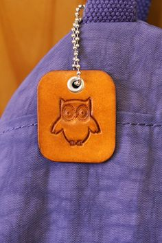 Leather Owl Bag Charm  Leather Owl Handbag by TinasLeatherCrafts. Repin To Remember.