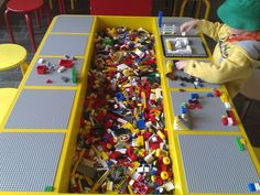 DIY Lego Tables - Perfect for Kids of All Ages How to Build a Lego Table for Your Children: How To Build A Great Lego Table – Vizimac Table Lego Diy, Lego Play Table, Legos, Lego Storage, Craft Storage, Storage Ideas, Table Storage, Kids Storage, Toy Rooms
