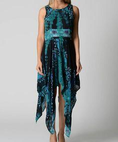 Another great find on #zulily! Green & Black Abstract Racerback Handkerchief Maxi Dress #zulilyfinds