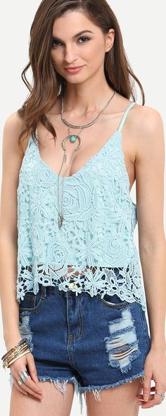 Blue Spaghetti Strap Lace Cami Top