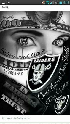 Make a raiders girl your wife we are loyal to the end and will not ever leave your side Oakland Raiders Images, Oakland Raiders Football, Raiders Stuff, Raiders Girl, Okland Raiders, Raiders Vegas, Og Abel Art, Raiders Tattoos, Arte Do Hip Hop