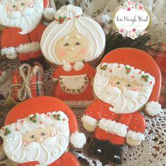 Christmas cookies,  Santa cookies,  Mrs clause cookies,  gingerbread cookies,  keepsake cookie gift,  decorated cookies