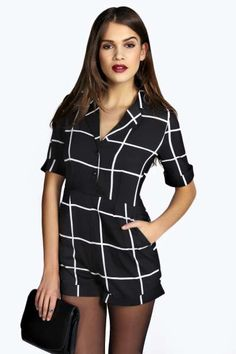 Grace Grid Check Pyjama Style Playsuit at boohoo.com