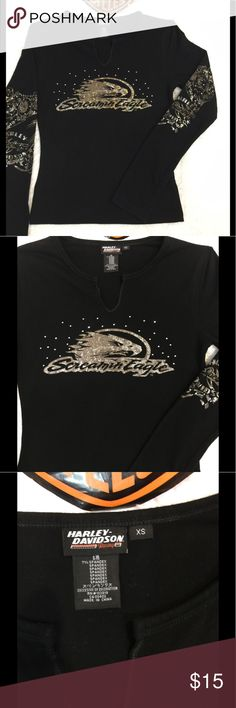 Cool Summer Night Harley Davidson Long Sleeve Tee Black and gold on this XS long sleeve Harley Tee, excellent used condition. No flaws.  No pet/smoke closet Harley-Davidson Tops Tees - Long Sleeve