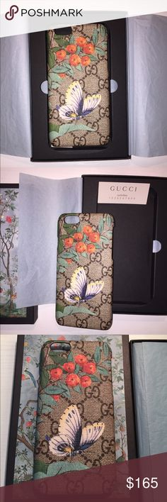 Authentic Gucci Tian 6s Cell Phone Case $300 Gucci IPhone 6 cellphone case. Beautiful butterfly and logo design. Good used condition  with minor wear on leather edges as seen in pictures. Gucci Accessories Phone Cases